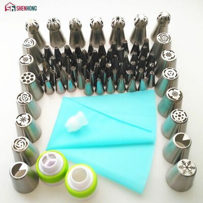 Icing Piping Tips Set Silicone Bag Coupler Tulip Nozzles Cupcake Cake Decorating