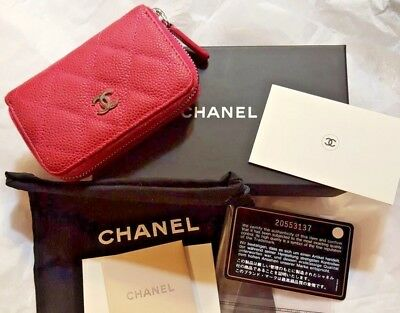 16ff4692f3a6 CHANEL Classic Zippy Coin Card Wallet Case PINK Caviar SHW Box Cards Duster  VGUC
