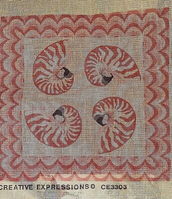 "Vintage 14"" needlepoint canvas big pink Nautilus Shells by Creative Expressions"