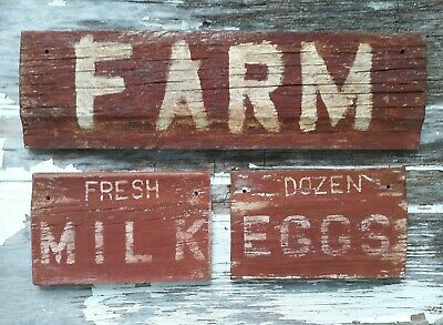 Old early Primitive antique farm chippy Barn wood red sign FARM kitchem vintage