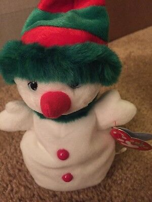 Ty Beanie Babies 2000 Snowgirl Snowman White Green Hat Red Buttons NWT