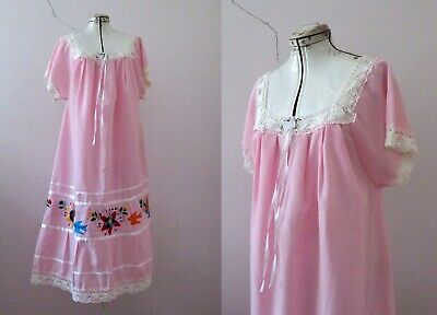 Vintage 70s Pink Mexican Tunic Nightie Maxi Dress L  Buy 3+ items for FREE Post