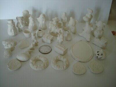 Assorted Ceramic Bisque Lot Ready to Paint Small & Miniature Christmas Dollhouse
