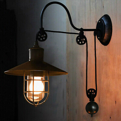 Industrial Goose-neck Warehouse Barn Pulley Wall Light Sconce Indoor Wall Lamp