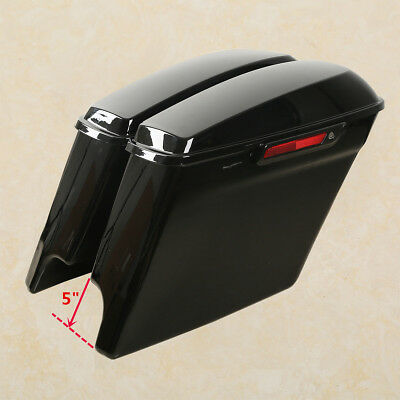 """5"""" Stretched Extended Hard Saddle bags For Harley Touring Street Glide 2014-2019"""