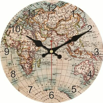 40cm Single Face Antique Styles Wall Clocks Wooden Cardboards Map Patterns Clock