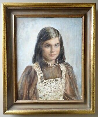 Vintage Oil Painting • Portrait of a Girl / Child • Mid 20th Century • Signed