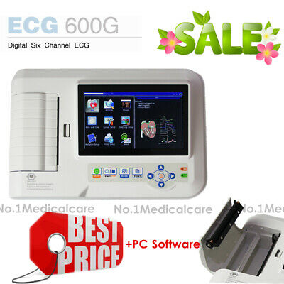 Touch 6 Channel ECG Machine, Digital 12 Lead EKG Interpretor, USB PC Software