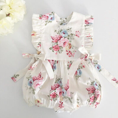 UK Baby Girl Infant Flower Ruffle Romper Bodysuit Jumpsuit Outfit Clothes Summer
