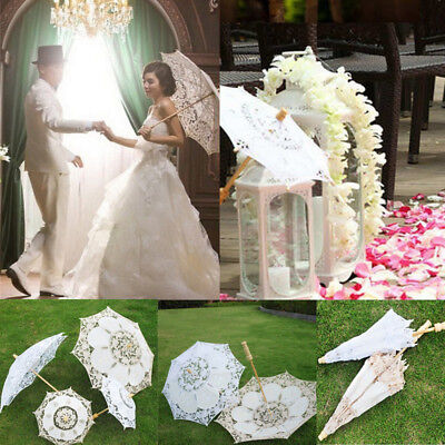 Women Girl Parasol Child Kids Flower Lace Sun Umbrella Bridal Wedding PartyDecor