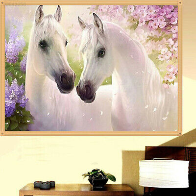 5C99 5D DIY Embroidery Two White Horse Stitch Painting Needlework Round Decor