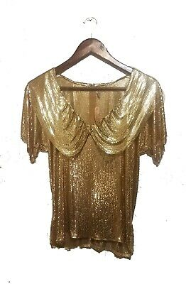 Whiting and Davis Metal Mesh chainmail Gold Top Vintage 70s Disco Formal sz. S