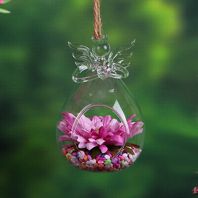 69A4 Terrarium Hanging Planters Glass Hydroponic Angel Wishing