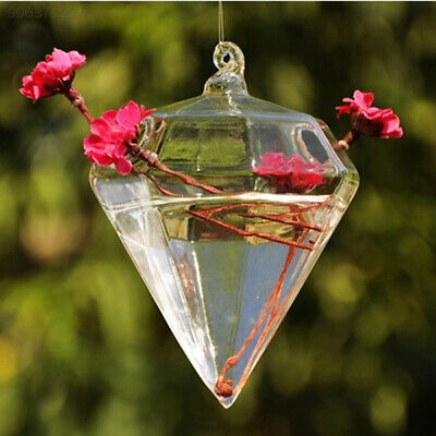 CE45 Hot Cute Clear Glass Diamond Flower Plant Stand Hanging Vase Wedding Decor