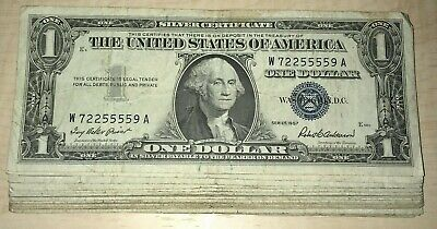 1935-1957 One Dollar Note - $1 Silver Certificate G-AU - Bill Blue US Currency