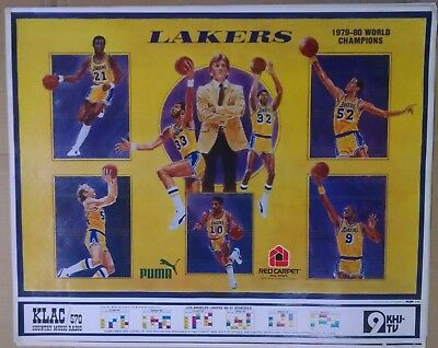1980 Los Angeles Lakers Game Schedule Poster