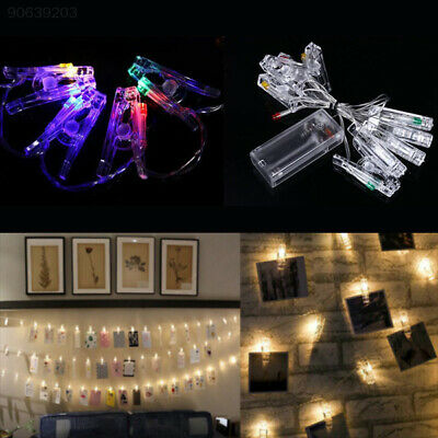 D275 1M 10 LED Hanging Picture Photo Clips Pegs String Light Indoor Decor Gifts
