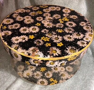 Vintage 1950s Round Yellow Daisy Flower Cardboard Lid Clear Plastic Hat Box
