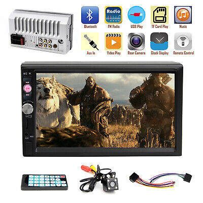 """7"""" Touch Screen Double 2DIN Car FM Stereo Radio Bluetooth USB MP5 Player Camera"""