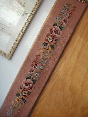 Vintage Needlepoint Bell Pull~Floral/pink Background~1970's~6 Ft~Brass Fittings
