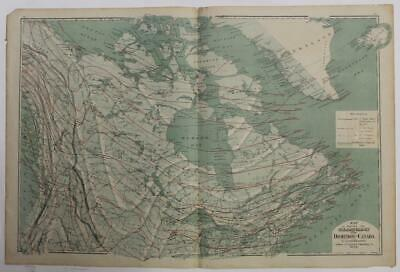 Canada 1874 Lorin Blodget Large Antique Lithographic Climatological Map