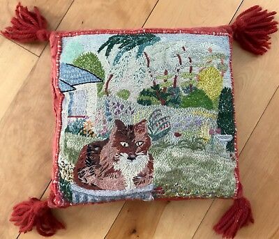 LOVELY Old Hand Embroidered Pillow Wool Crewel Work & Velvet, Cat in Garden