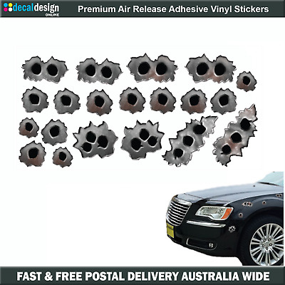 Bullet Holes individually cut pinted decals stickers for car bike boat #B018