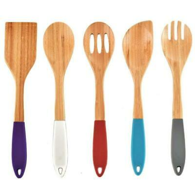 5 PCS Kitchen Silicone Cooking Nonstick Wooden Spoons and Spatula Utensil