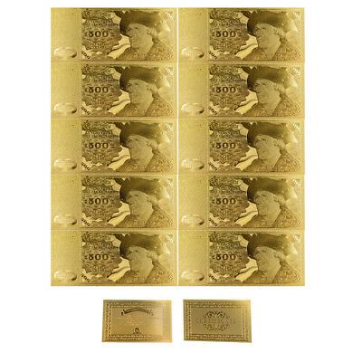 10pcs/lot Beautiful 24k Gold Foil Germany Banknotes 500 Deutsche Mark Banknote
