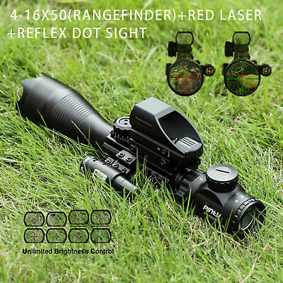3 in 1 4-16x50EG Rangefinder Rifle Scope 4 Reticle Green/Red Dot sight&Red laser