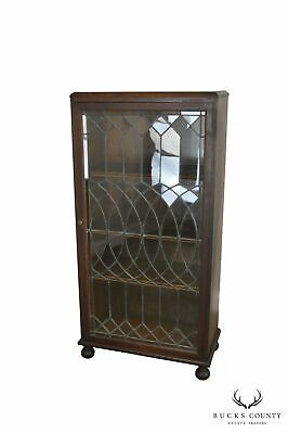 Antique Oak Arts & Crafts Style Leaded Glass Door Bookcase