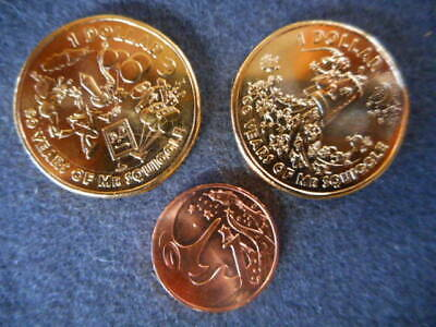 Mr. Squiggle Coins 2x$1 and 1 cent uncirculated