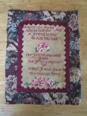 Completed Embroidery Of A Friendship Poem With Roses