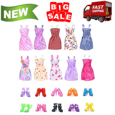 10 Pack Barbie Doll Clothes Party Gown Outfits With 10 Doll Shoes For Girl NEW