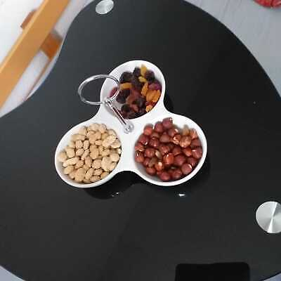 Triple snack dish with stainless steel carry handle ceramic dry fruit dish new