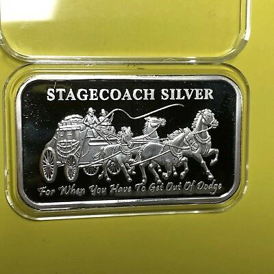 Stagecoach Divisible Into 4x 1/4 Oz = 1 Troy Oz .999 Fine Silver Medal Ingot Bar