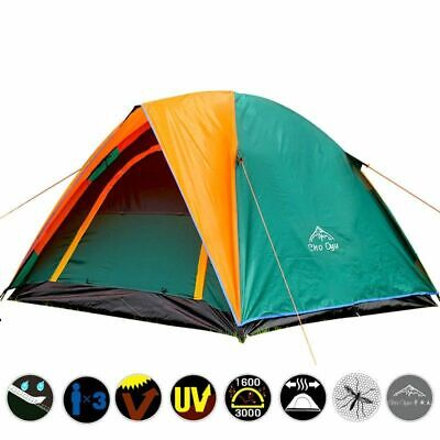 Camping Tent Double Layer Nylon 4 Person Rainproof Canvas Outdoor Travel Shelter