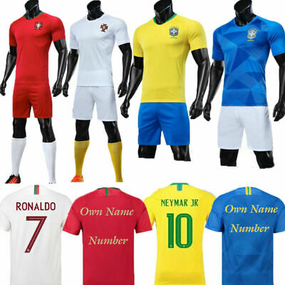 17-18 Football Kits RONALDO 7 Soccer Jersey For 3-14Y Kids Boys Sport Suit+Socks