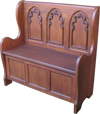 Solid Mahogany Carved Gothic Settle with Storage Antique Reproduction NEW BN004