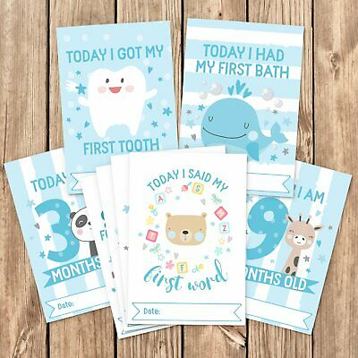 Baby Milestone Cards ~ 1st Year Memorable Moments Boy Age
