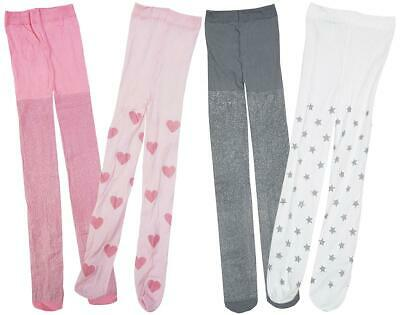 Girls Tights Value 2 Pairs Party Sparkle Glitter Hearts Stars Disco 3 - 13 Years