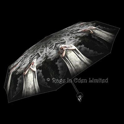 *ONLY LOVE REMAINS* Gothic Angel Art Folding Umbrella By Anne Stokes