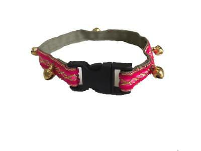 Hand Made Fancy Decorative Only Pink Lined Cat Collar With Bells  Nowzad Charity