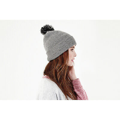 f4549c9e0e0 Beechfield Snowstar Beanie Hat Dual Layer Two Tone Pom Acrylic Bobble  Winter Cap