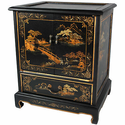 Japanese End Table - Black Landscape