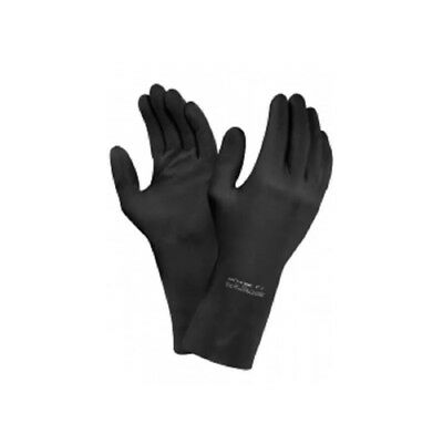 2 Pairs of Ansell 87-950Extra Heavyweight Black Latex Gloves SIZE:9.5-10XL