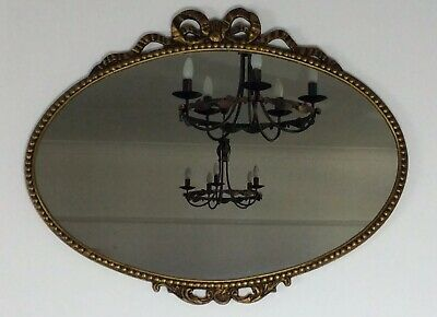 Vintage Oval Mirror In Gold Gilt Baroque Rococo Style Frame