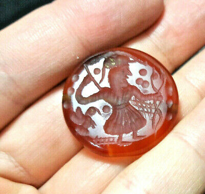 Antique Carnelian anchor Holding Bow With His Pet Eagle Bird Intaglio Seal Bead