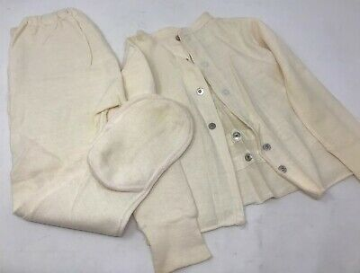 Vintage Carters Footed Footie Pajamas 2 piece set 1940s-1950s Off White Size 2