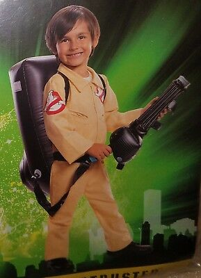 NEW Ghostbusters Halloween Costume Boys Large 10-12 Jumpsuit Inflatable Backpack